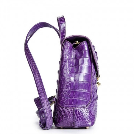 Women's Casual Crocodile Leather Backpack Daypack for Ladies-Side