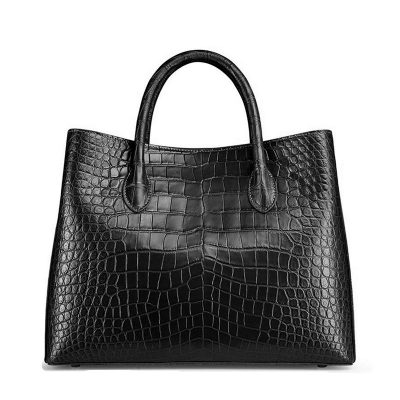 Women's Alligator Leather Handbag Tote Shoulder Bag Crossbody Purse-Black