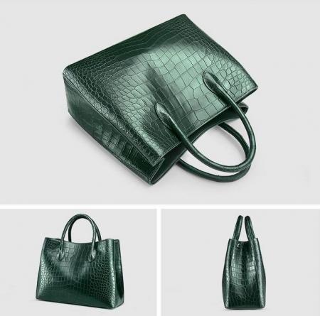 Women's Alligator Leather Handbag Tote Shoulder Bag Crossbody Purse-Green-Display