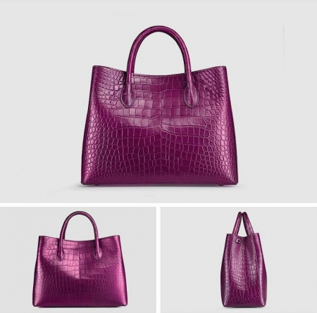 Women's Alligator Leather Handbag Tote Shoulder Bag Crossbody Purse-Purple-Display