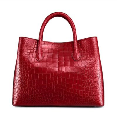 Women's Alligator Leather Handbag Tote Shoulder Bag Crossbody Purse-Red