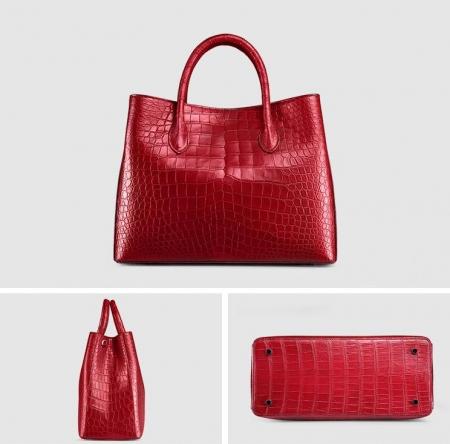 Women's Alligator Leather Handbag Tote Shoulder Bag Crossbody Purse-Red-Display