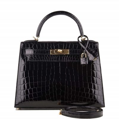 Women's Classic Genuine Alligator Leather Padlock Shoulder Handbag-Black