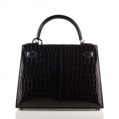 Women's Classic Genuine Alligator Leather Padlock Shoulder Handbag-Black-Back
