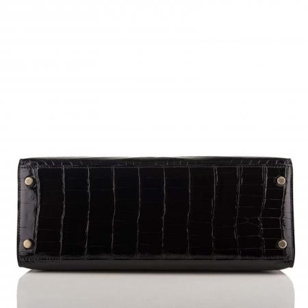 Women's Classic Genuine Alligator Leather Padlock Shoulder Handbag-Black-Bottom