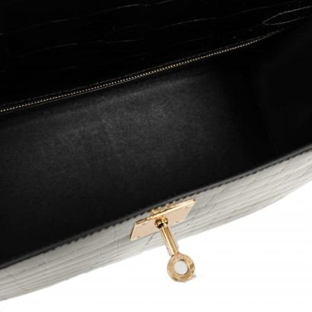Women's Classic Genuine Alligator Leather Padlock Shoulder Handbag-Black-Inside