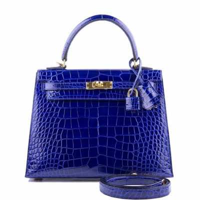 Women's Classic Genuine Alligator Leather Padlock Shoulder Handbag-Blue