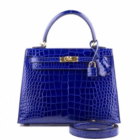 Women's Classic Genuine Alligator Leather Padlock Shoulder Handbag-Blue