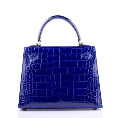 Women's Classic Genuine Alligator Leather Padlock Shoulder Handbag-Blue-Back