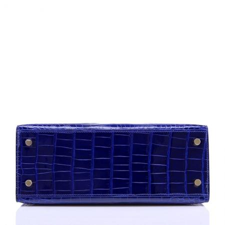 Women's Classic Genuine Alligator Leather Padlock Shoulder Handbag-Blue-Bottom