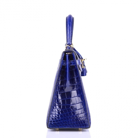Women's Classic Genuine Alligator Leather Padlock Shoulder Handbag-Blue-Side