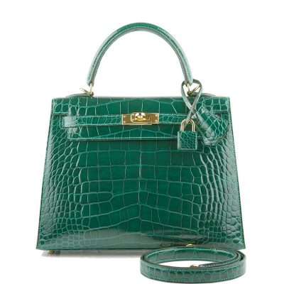 Women's Classic Genuine Alligator Leather Padlock Shoulder Handbag-Green