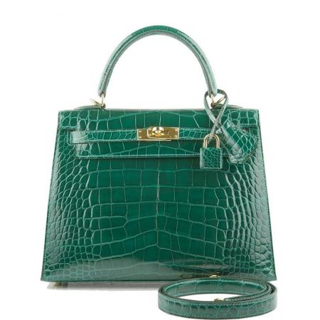 Women's Classic Genuine Alligator Leather Padlock Shoulder Handbag-Green