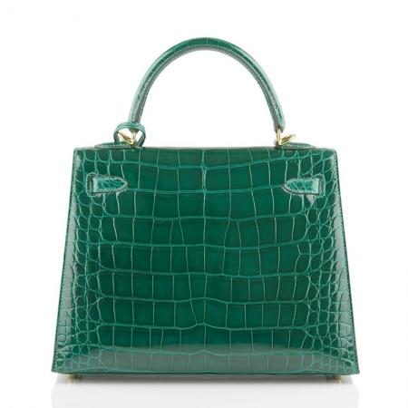 Women's Classic Genuine Alligator Leather Padlock Shoulder Handbag-Green-Back
