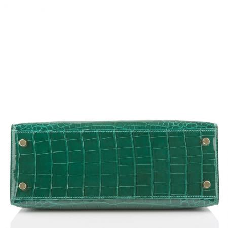 Women's Classic Genuine Alligator Leather Padlock Shoulder Handbag-Green-Bottom