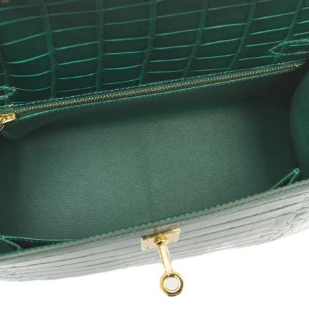 Women's Classic Genuine Alligator Leather Padlock Shoulder Handbag-Green-Inside