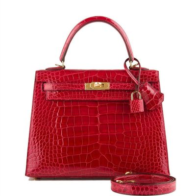 Women's Classic Genuine Alligator Leather Padlock Shoulder Handbag-Red