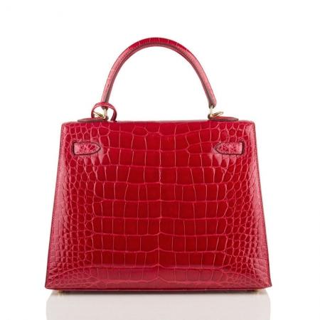 Women's Classic Genuine Alligator Leather Padlock Shoulder Handbag-Red-Back