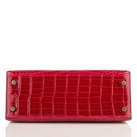 Women's Classic Genuine Alligator Leather Padlock Shoulder Handbag-Red-Bottom