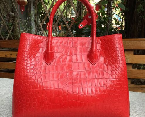 genuine crocodile leather handbag-red-2018