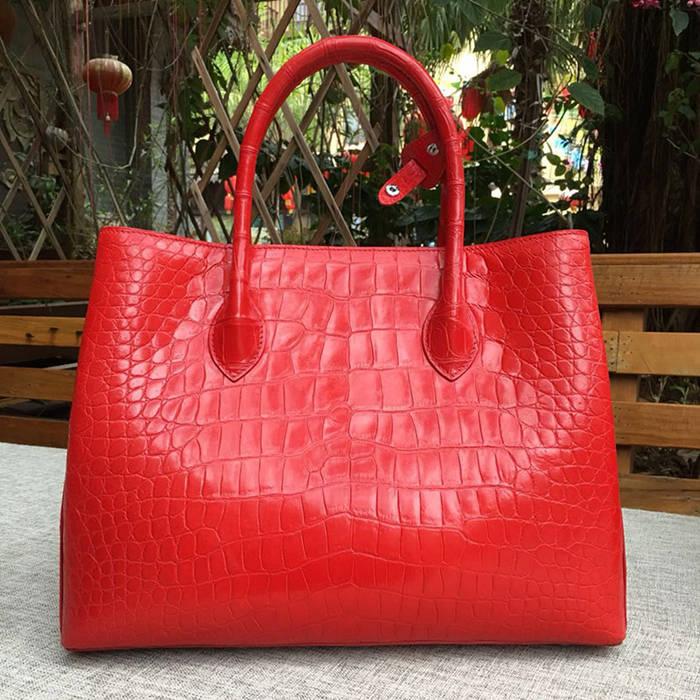 genuine crocodile leather handbag-red-2018