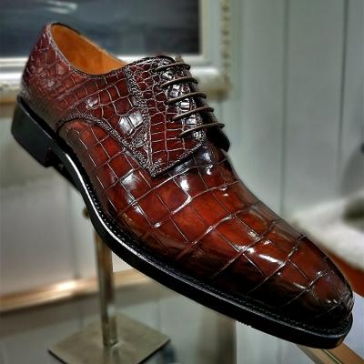 Alligator Leather Lace Up Derby Dress Shoes for Men
