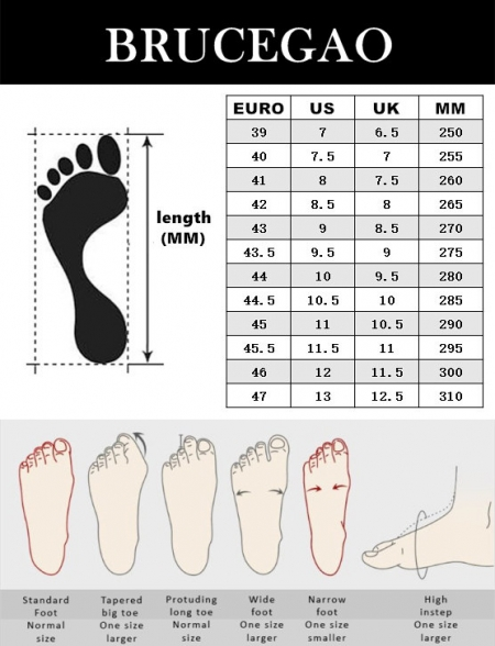 BRUCEGAO's Alligator and Crocodile Skin Shoes Size Chart