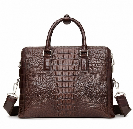Business Mens Crocodile Leather Briefcase Bag Handbag Laptop Shoulder Bag-Back