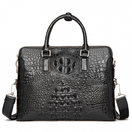 Business Mens Crocodile Leather Briefcase Bag Handbag Laptop Shoulder Bag-Black