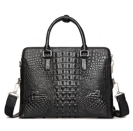 Business Mens Crocodile Leather Briefcase Bag Handbag Laptop Shoulder Bag-Black-Back