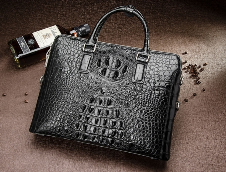 Business Mens Crocodile Leather Briefcase Bag Handbag Laptop Shoulder Bag-Black-Front