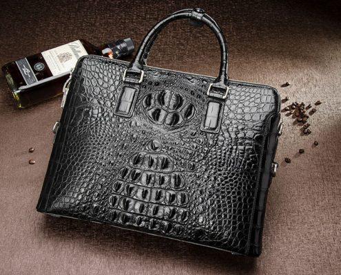 Business Mens Crocodile Leather Briefcase Bag Handbag Laptop Shoulder Bag-Black-Front