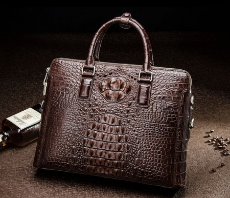 Business Mens Crocodile Leather Briefcase Bag Handbag Laptop Shoulder Bag-Brown-Front
