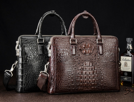 Business Mens Crocodile Leather Briefcase Bag Handbag Laptop Shoulder Bag-Display