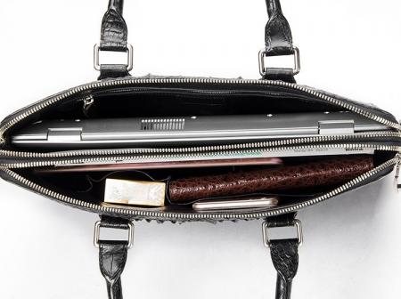 Business Mens Crocodile Leather Briefcase Bag Handbag Laptop Shoulder Bag-Inside