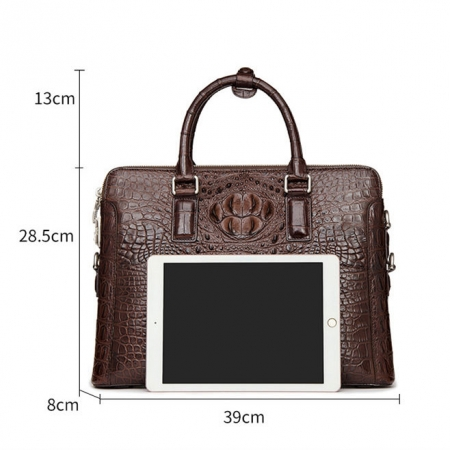 Business Mens Crocodile Leather Briefcase Bag Handbag Laptop Shoulder Bag-Size