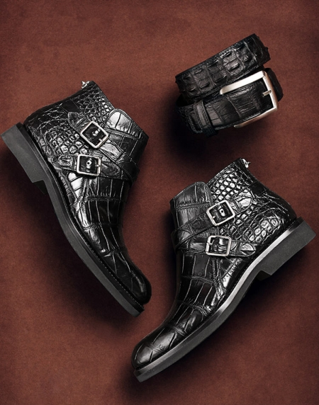 Casual Alligator Boots for Men-Display