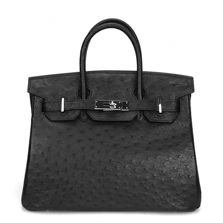 Classic Padlock Genuine Ostrich Skin Top Handle Handbags-Black
