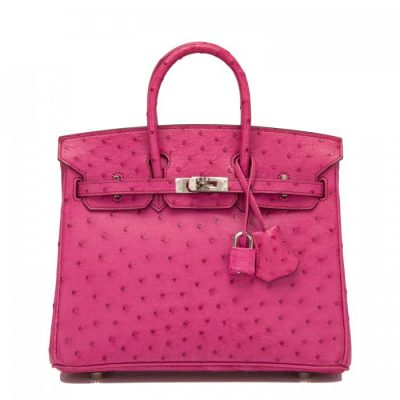 Classic Padlock Genuine Ostrich Skin Top Handle Handbags-Deep Pink