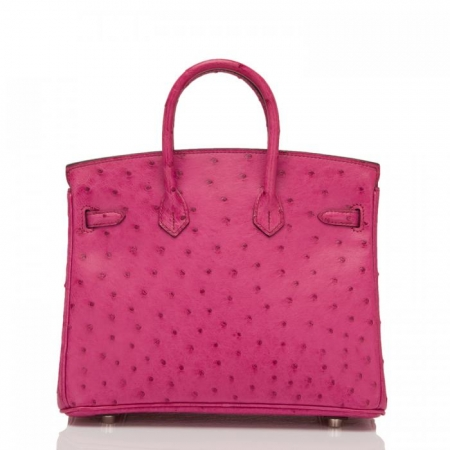 Classic Padlock Genuine Ostrich Skin Top Handle Handbags-Deep Pink-Back