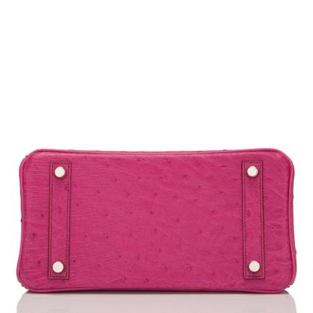 Classic Padlock Genuine Ostrich Skin Top Handle Handbags-Deep Pink-Bottom