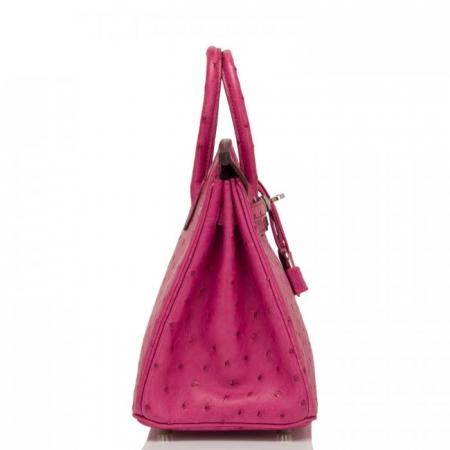 Classic Padlock Genuine Ostrich Skin Top Handle Handbags-Deep Pink-Side