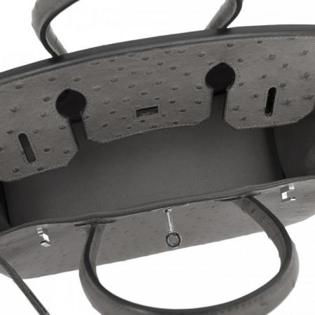 Classic Padlock Genuine Ostrich Skin Top Handle Handbags-Gary-Inside