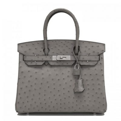 Classic Padlock Genuine Ostrich Skin Top Handle Handbags-Gray