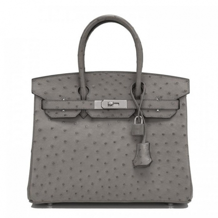 Classic Padlock Genuine Ostrich Skin Top Handle Handbags-Gray