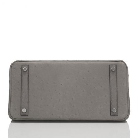 Classic Padlock Genuine Ostrich Skin Top Handle Handbags-Gray-Bottom