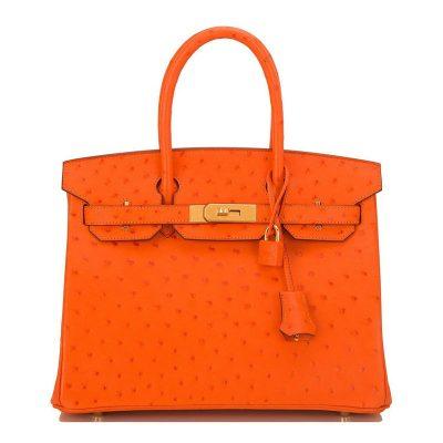 Classic Padlock Genuine Ostrich Skin Top Handle Handbags-Orange