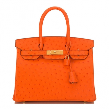 Classic Padlock Genuine Ostrich Skin Top Handle Handbags-Orange