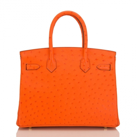 Classic Padlock Genuine Ostrich Skin Top Handle Handbags-Orange-Back