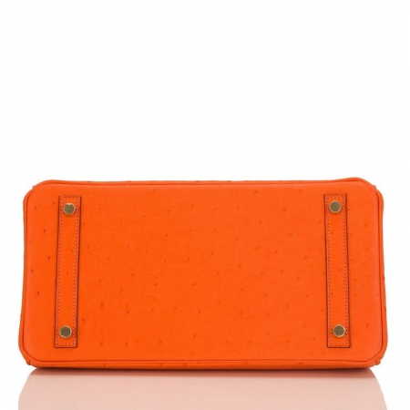 Classic Padlock Genuine Ostrich Skin Top Handle Handbags-Orange-Bottom
